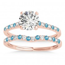 Diamond & Blue Topaz Single Row Bridal Set 14k Rose Gold (0.22ct)