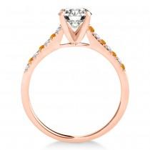 Diamond & Citrine Single Row Bridal Set 14k Rose Gold (0.22ct)