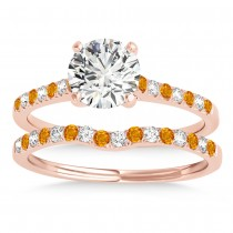 Diamond & Citrine Single Row Bridal Set 18k Rose Gold (0.22ct)
