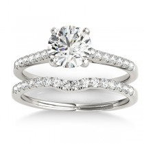 Diamond Single Row Bridal Set 18k White Gold (0.22ct)