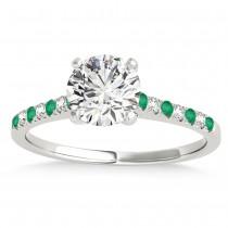 Diamond & Emerald Single Row Bridal Set 18k White Gold (0.22ct)