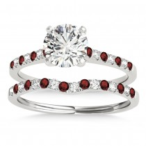 Diamond & Garnet Single Row Bridal Set 14k White Gold (0.22ct)