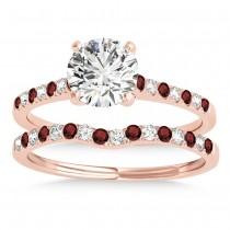 Diamond & Garnet Single Row Bridal Set 18k Rose Gold (0.22ct)