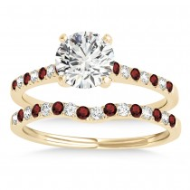 Diamond & Garnet Single Row Bridal Set 18k Yellow Gold (0.22ct)