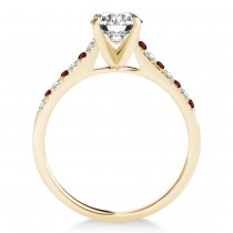 Diamond & Garnet Single Row Bridal Set 18k Yellow Gold (0.22ct)