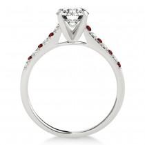Diamond & Garnet Single Row Bridal Set Platinum (0.22ct)