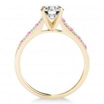 Diamond & Pink Sapphire Single Row Bridal Set 14k Yellow Gold (0.22ct)