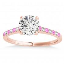 Diamond & Pink Sapphire Single Row Bridal Set 18k Rose Gold (0.22ct)