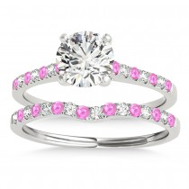 Diamond & Pink Sapphire Single Row Bridal Set 18k White Gold (0.22ct)