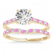 Diamond & Pink Sapphire Single Row Bridal Set 18k Yellow Gold (0.22ct)