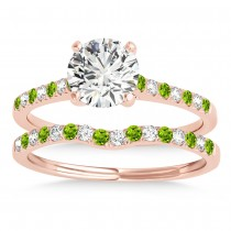 Diamond & Peridot Single Row Bridal Set 14k Rose Gold (0.22ct)