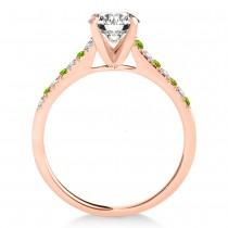 Diamond & Peridot Single Row Bridal Set 14k Rose Gold (0.22ct)