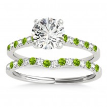 Diamond & Peridot Single Row Bridal Set 14k White Gold (0.22ct)