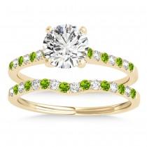 Diamond & Peridot Single Row Bridal Set 14k Yellow Gold (0.22ct)