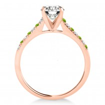 Diamond & Peridot Single Row Bridal Set 18k Rose Gold (0.22ct)
