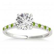 Diamond & Peridot Single Row Bridal Set Platinum (0.22ct)