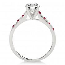 Diamond & Ruby Single Row Bridal Set 14k White Gold (0.22ct)