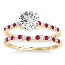 Diamond & Ruby Single Row Bridal Set 14k Yellow Gold (0.22ct)