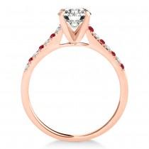 Diamond & Ruby Single Row Bridal Set 18k Rose Gold (0.22ct)