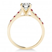 Diamond & Ruby Single Row Bridal Set 18k Yellow Gold (0.22ct)