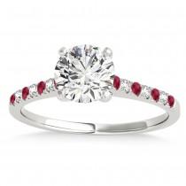 Diamond & Ruby Single Row Bridal Set Palladium (0.22ct)