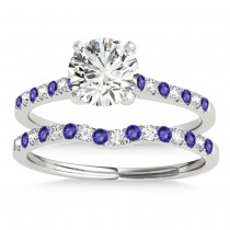 Diamond & Tanzanite Single Row Bridal Set 14k White Gold (0.22ct)
