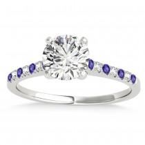 Diamond & Tanzanite Single Row Bridal Set 14k White Gold (0.22ct)