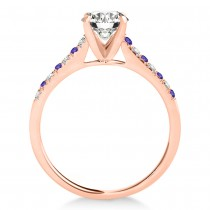 Diamond & Tanzanite Single Row Bridal Set 18k Rose Gold (0.22ct)