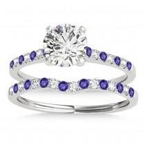 Diamond & Tanzanite Single Row Bridal Set Palladium (0.22ct)