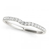 Diamond Curved Prong Wedding Band 14k White Gold (0.11ct)