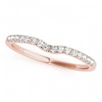 Diamond Curved Prong Wedding Band 18k Rose Gold (0.11ct)