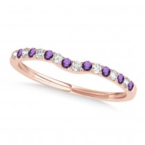 Diamond & Amethyst Contoured Wedding Band 14k Rose Gold (0.11ct)