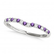 Diamond & Amethyst Contoured Wedding Band 14k White Gold (0.11ct)|escape