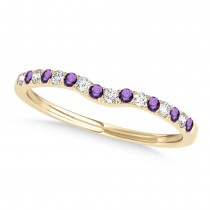 Diamond & Amethyst Contoured Wedding Band 18k Yellow Gold (0.11ct)