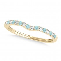 Diamond & Aquamarine Contoured Wedding Band 14k Yellow Gold (0.11ct)