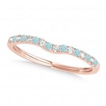 Diamond & Aquamarine Contoured Wedding Band 18k Rose Gold (0.11ct)
