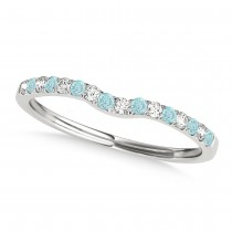 Diamond & Aquamarine Contoured Wedding Band 18k White Gold (0.11ct)