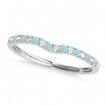 Diamond & Aquamarine Contoured Wedding Band Platinum (0.11ct)
