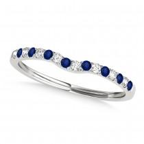 Diamond & Blue Sapphire Contoured Wedding Band 14k White Gold (0.11ct)
