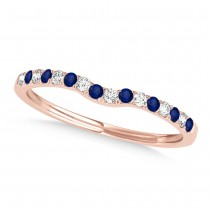 Diamond & Blue Sapphire Contoured Wedding Band 18k Rose Gold (0.11ct)