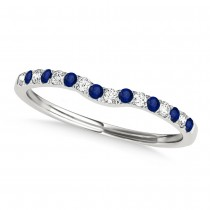 Diamond & Blue Sapphire Contoured Wedding Band 18k White Gold (0.11ct)