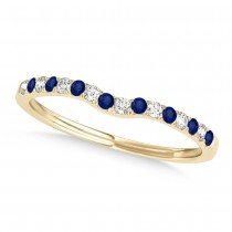 Diamond & Blue Sapphire Contoured Wedding Band 18k Yellow Gold (0.11ct)
