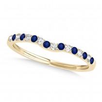 Diamond & Blue Sapphire Contoured Wedding Band 18k Yellow Gold (0.11ct)