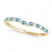 Diamond & Blue Topaz Contoured Wedding Band 14k Yellow Gold (0.11ct)