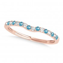 Diamond & Blue Topaz Contoured Wedding Band 18k Rose Gold (0.11ct)