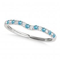 Diamond & Blue Topaz Contoured Wedding Band 18k White Gold (0.11ct)