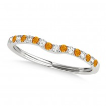Diamond & Citrine Contoured Wedding Band 18k White Gold (0.11ct)