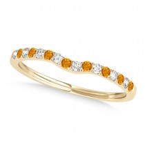 Diamond & Citrine Contoured Wedding Band 18k Yellow Gold (0.11ct)