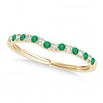 Diamond & Emerald Contoured Wedding Band 18k Yellow Gold (0.11ct)