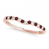 Diamond & Garnet Contoured Wedding Band 18k Rose Gold (0.11ct)